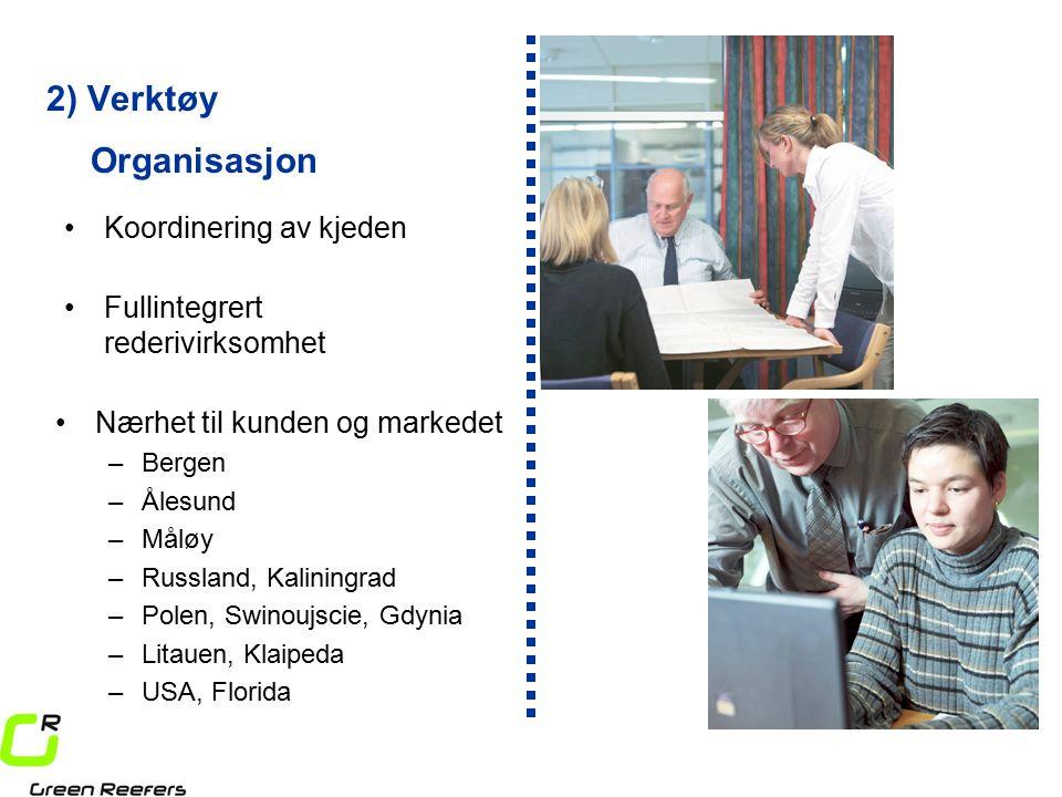 2) Verktøy Koordinering av kjeden Fullintegrert rederivirksomhet Organisasjon Nærhet til kunden og markedet –Bergen –Ålesund –Måløy –Russland, Kaliningrad –Polen, Swinoujscie, Gdynia –Litauen, Klaipeda –USA, Florida
