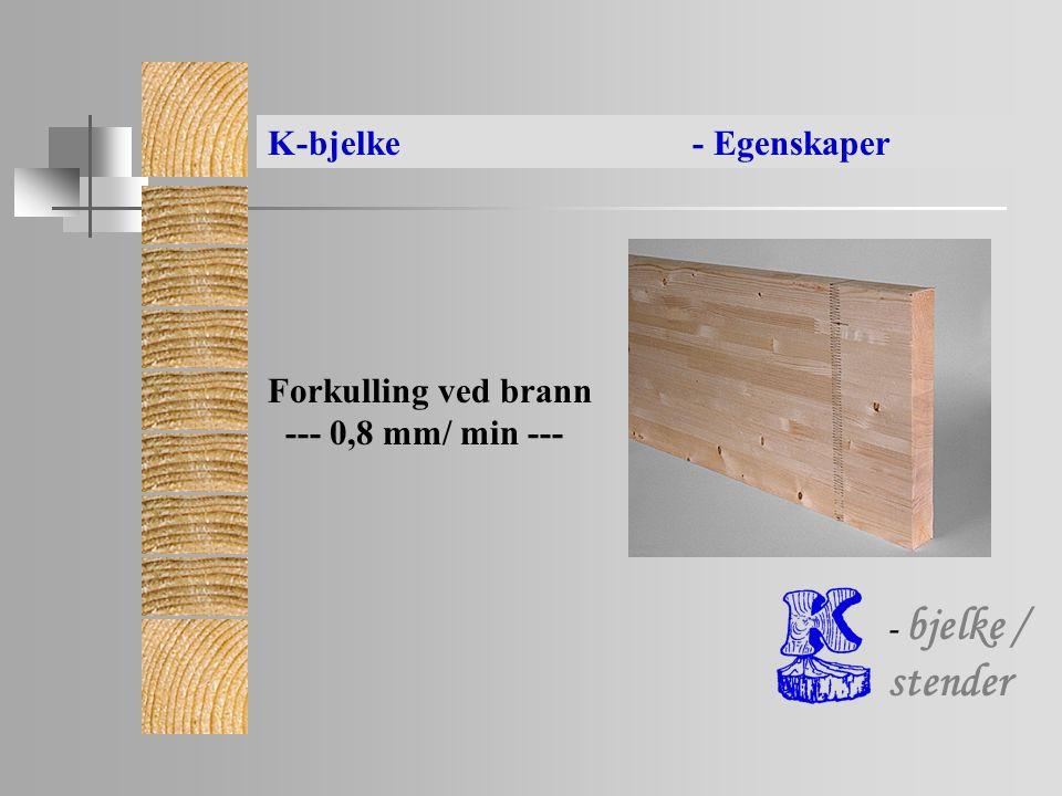 - bjelke / stender Forkulling ved brann --- 0,8 mm/ min --- K-bjelke- Egenskaper