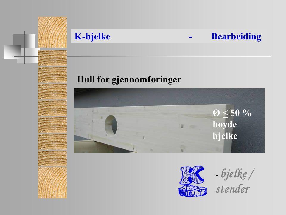 Ø < 50 % høyde bjelke Hull for gjennomføringer K-bjelke- Bearbeiding