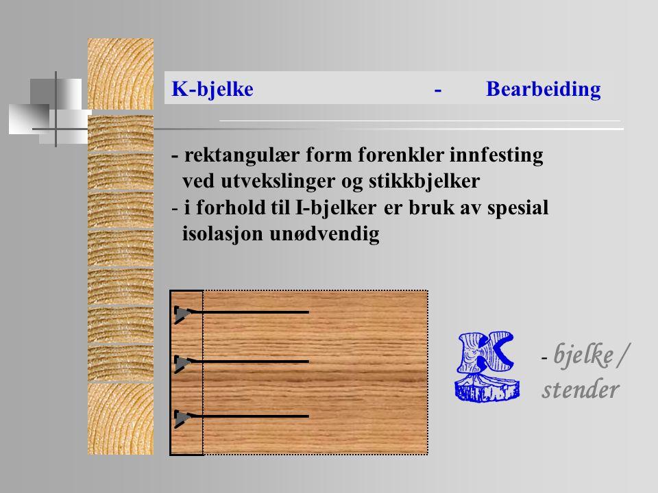 - bjelke / stender - rektangulær form forenkler innfesting ved utvekslinger og stikkbjelker - i forhold til I-bjelker er bruk av spesial isolasjon unødvendig K-bjelke- Bearbeiding - bjelke / stender