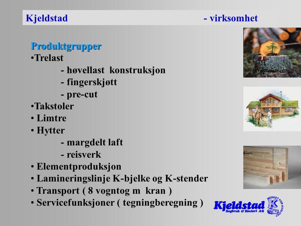 Kjeldstad - virksomhet Produktgrupper Trelast - høvellast konstruksjon - fingerskjøtt - pre-cut Takstoler Limtre Hytter - margdelt laft - reisverk Elementproduksjon Lamineringslinje K-bjelke og K-stender Transport ( 8 vogntog m kran ) Servicefunksjoner ( tegningberegning )