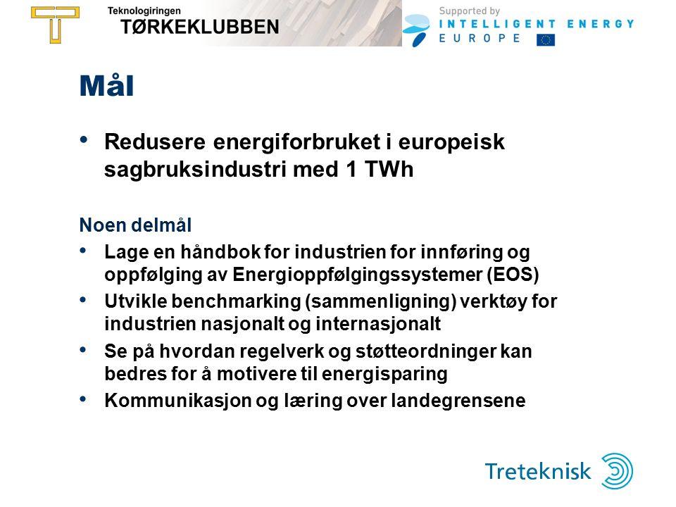 Mål Redusere energiforbruket i europeisk sagbruksindustri med 1 TWh Noen delmål Lage en håndbok for industrien for innføring og oppfølging av Energioppfølgingssystemer (EOS) Utvikle benchmarking (sammenligning) verktøy for industrien nasjonalt og internasjonalt Se på hvordan regelverk og støtteordninger kan bedres for å motivere til energisparing Kommunikasjon og læring over landegrensene