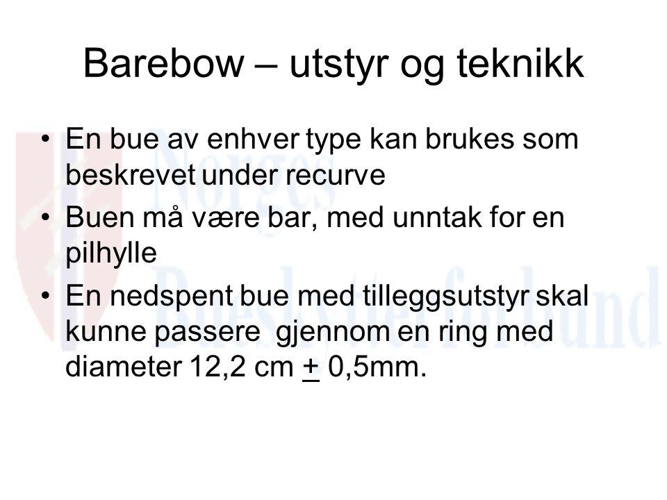 Barebow – utstyr og teknikk En bue av enhver type kan brukes som beskrevet under recurve Buen må være bar, med unntak for en pilhylle En nedspent bue med tilleggsutstyr skal kunne passere gjennom en ring med diameter 12,2 cm + 0,5mm.
