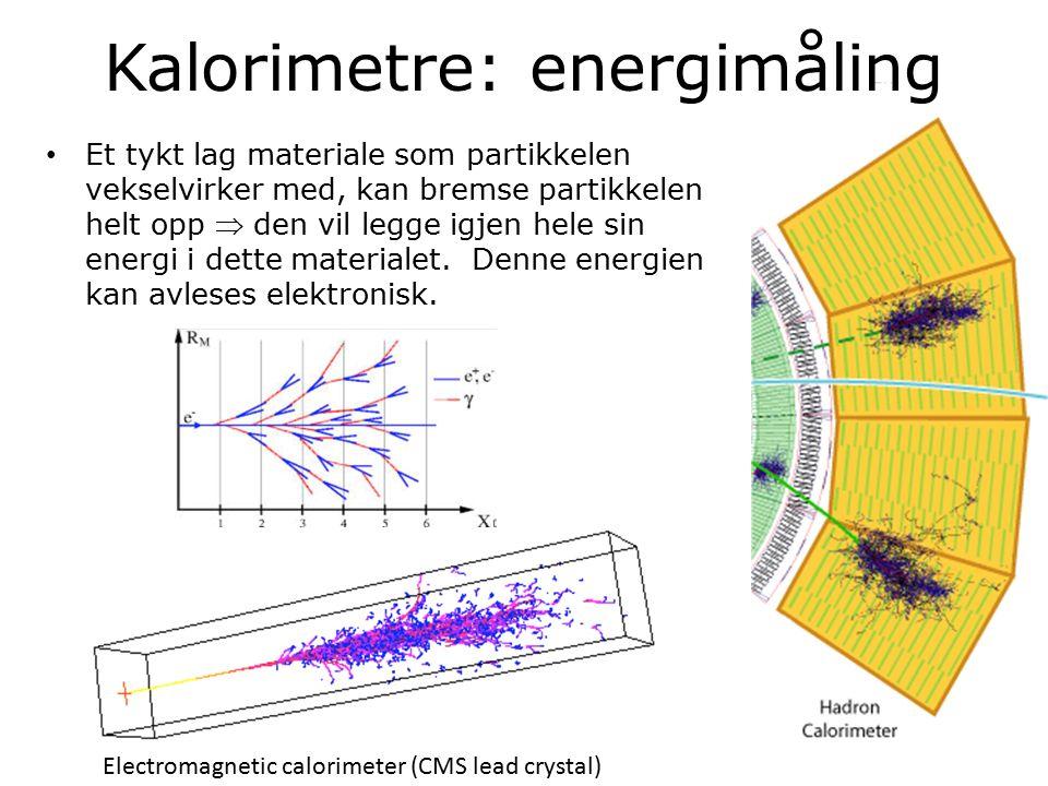 15 Kalorimetre: energimåling Et tykt lag materiale som partikkelen vekselvirker med, kan bremse partikkelen helt opp  den vil legge igjen hele sin energi i dette materialet.