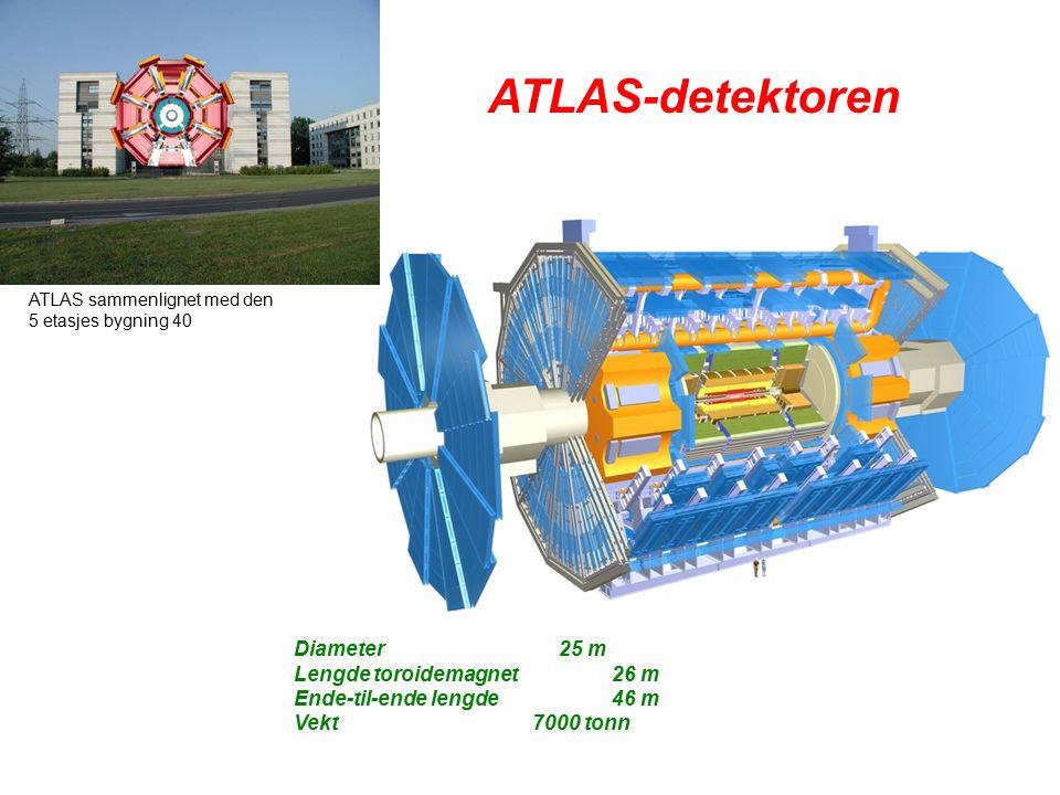 20 Diameter25 m Lengde toroidemagnet26 m Ende-til-ende lengde46 m Vekt 7000 tonn ATLAS-detektoren ATLAS sammenlignet med den 5 etasjes bygning 40