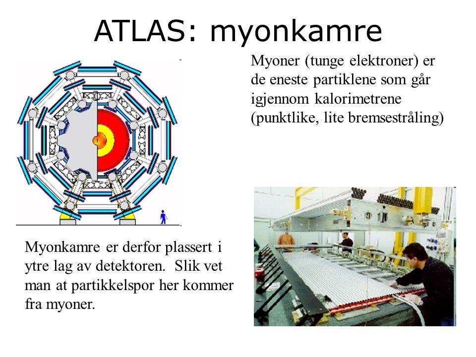 25 ATLAS: myonkamre Myoner (tunge elektroner) er de eneste partiklene som går igjennom kalorimetrene (punktlike, lite bremsestråling) Myonkamre er derfor plassert i ytre lag av detektoren.