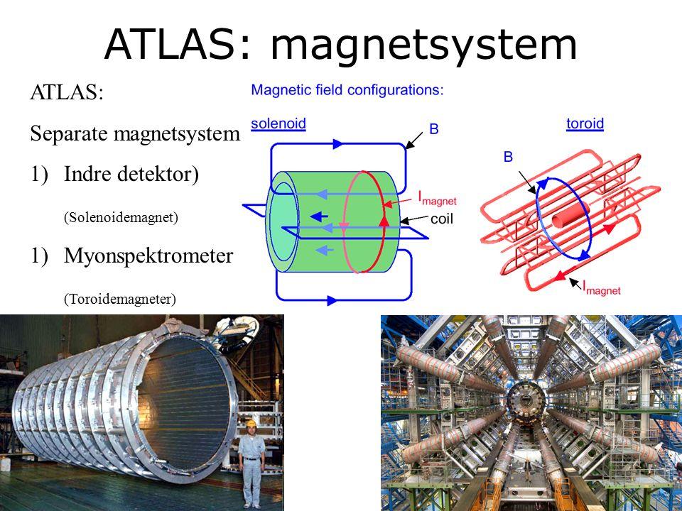 26 ATLAS: magnetsystem ATLAS: Separate magnetsystem 1)Indre detektor) (Solenoidemagnet) 1)Myonspektrometer (Toroidemagneter)