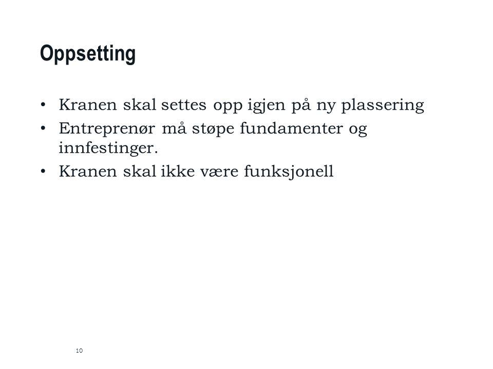 10 Oppsetting Kranen skal settes opp igjen på ny plassering Entreprenør må støpe fundamenter og innfestinger.