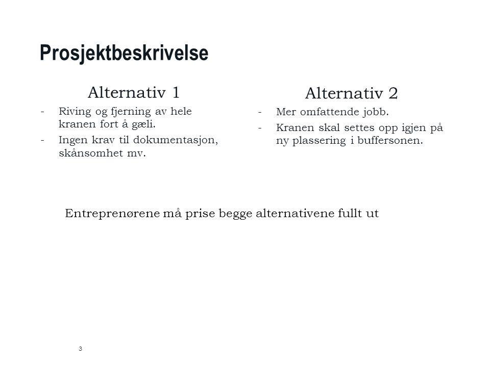 Prosjektbeskrivelse 3 Alternativ 1 -Riving og fjerning av hele kranen fort å gæli.