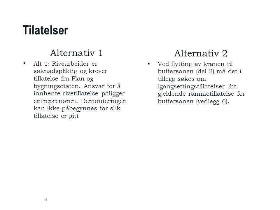 Tilatelser 4 Alternativ 1  Alt 1: Rivearbeider er søknadspliktig og krever tillatelse fra Plan og bygningsetaten.