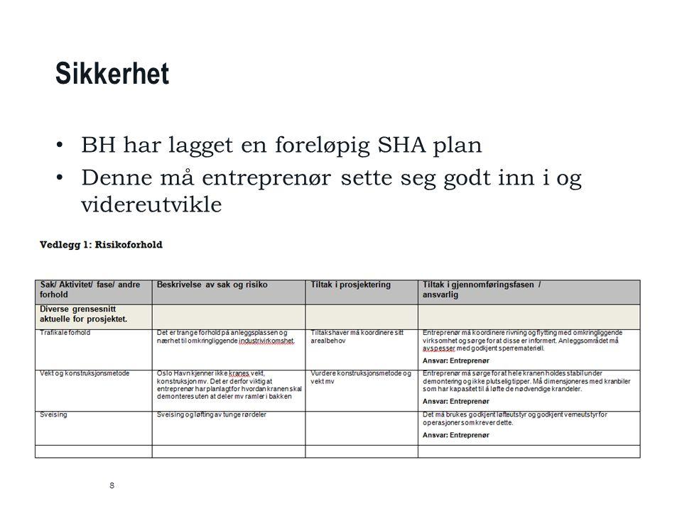 8 Sikkerhet BH har lagget en foreløpig SHA plan Denne må entreprenør sette seg godt inn i og videreutvikle