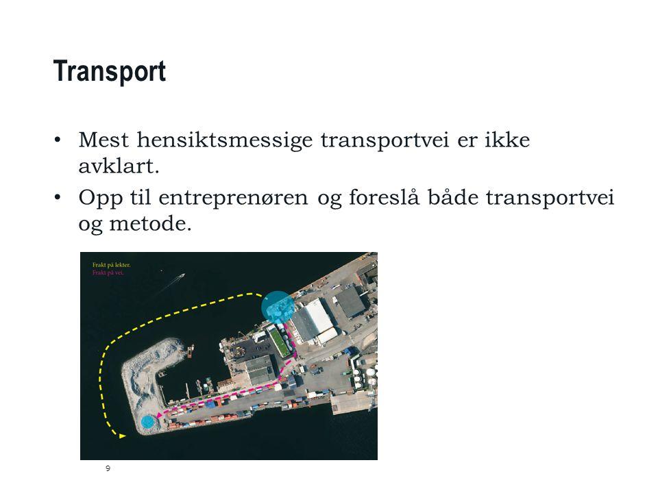9 Transport Mest hensiktsmessige transportvei er ikke avklart.