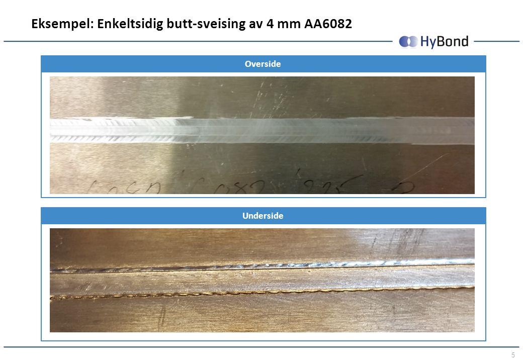 5 Eksempel: Enkeltsidig butt-sveising av 4 mm AA6082 Overside Underside