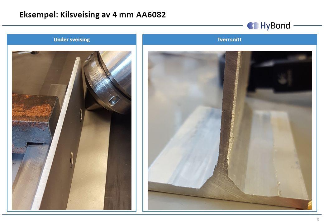 6 Eksempel: Kilsveising av 4 mm AA6082 Under sveisingTverrsnitt
