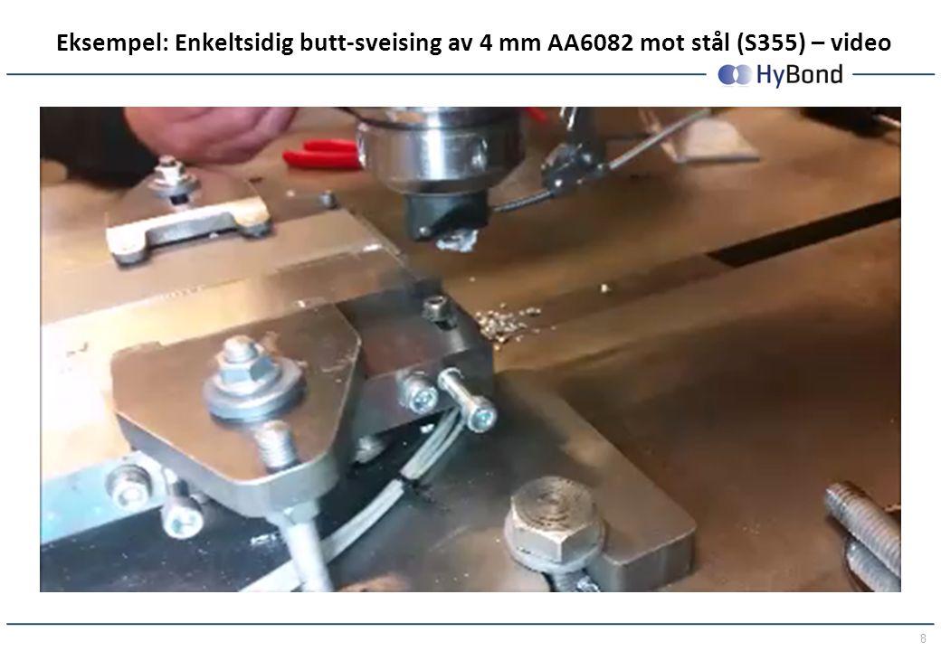 8 Eksempel: Enkeltsidig butt-sveising av 4 mm AA6082 mot stål (S355) – video