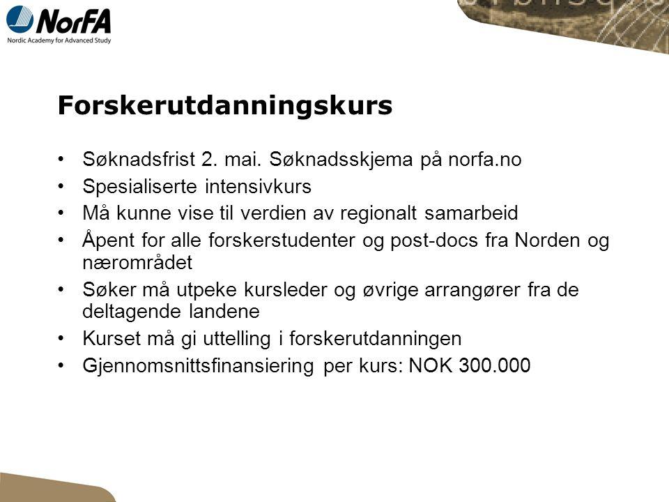 Forskernettverk Søknadsfrist 2.mai.