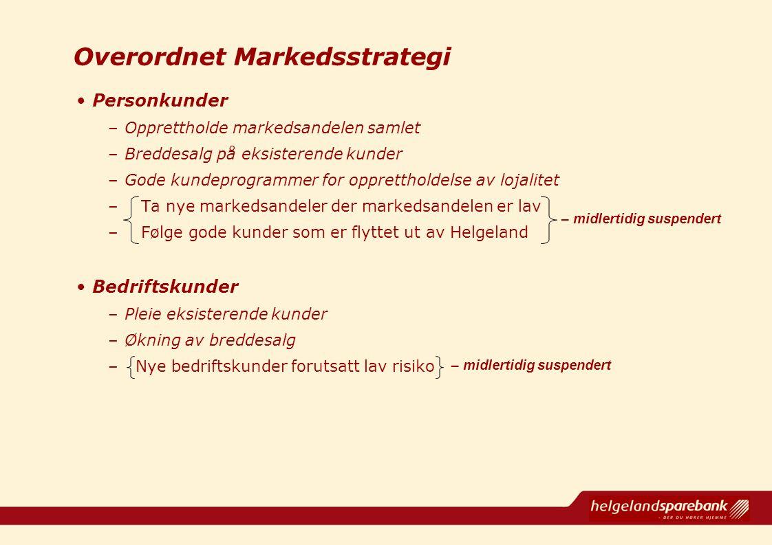 Overordnet Markedsstrategi Personkunder –Opprettholde markedsandelen samlet –Breddesalg på eksisterende kunder –Gode kundeprogrammer for opprettholdel