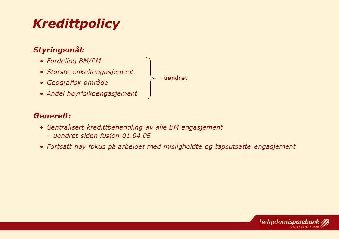 Kredittpolicy Styringsmål : Fordeling BM/PM Største enkeltengasjement Geografisk område Andel høyrisikoengasjement Generelt: Sentralisert kredittbehan