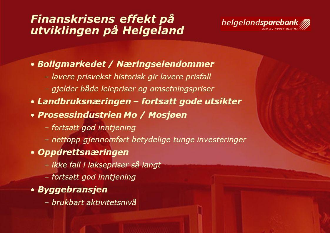 Finanskrisens effekt på utviklingen på Helgeland Boligmarkedet / Næringseiendommer – lavere prisvekst historisk gir lavere prisfall – gjelder både lei