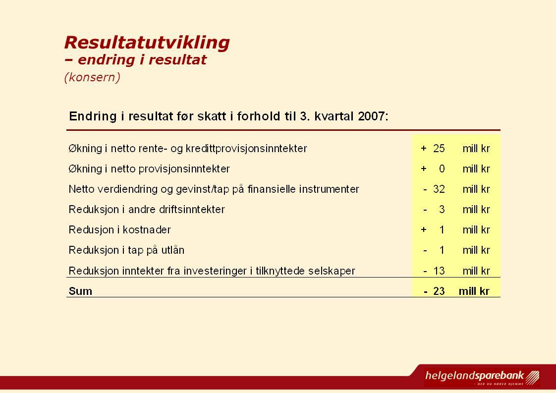 Resultatutvikling Resultatutvikling – endring i resultat (konsern)