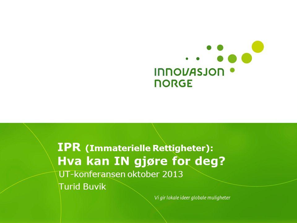 IPR (Immaterielle Rettigheter): Hva kan IN gjøre for deg UT-konferansen oktober 2013 Turid Buvik