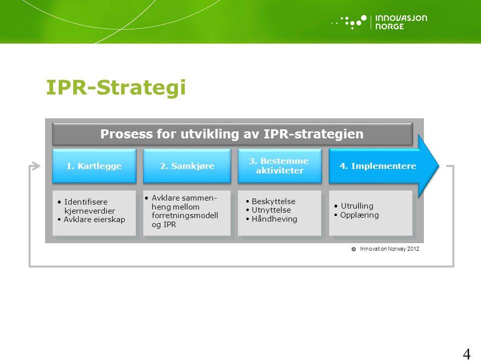 4 IPR-Strategi Innovation Norway 2012 1. Kartlegge Prosess for utvikling av IPR-strategien 2.