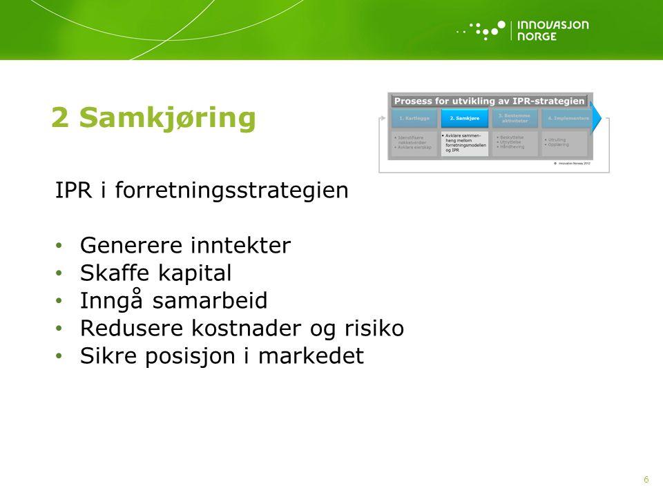 7 Innovation Norway 2013 Utnyttelse av immaterielle verdier Generere inntekter Inngå samarbeid Fremskaffe kapital Redusere risiko Sikre posisjon i markedet Spagat