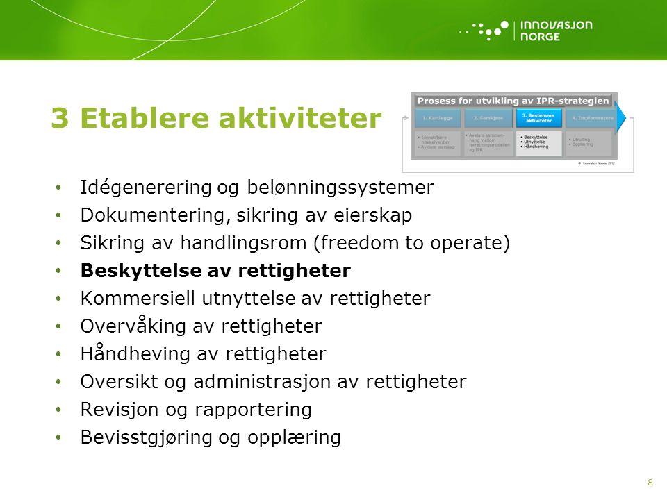 3 Etablere aktiviteter Idégenerering og belønningssystemer Dokumentering, sikring av eierskap Sikring av handlingsrom (freedom to operate) Beskyttelse
