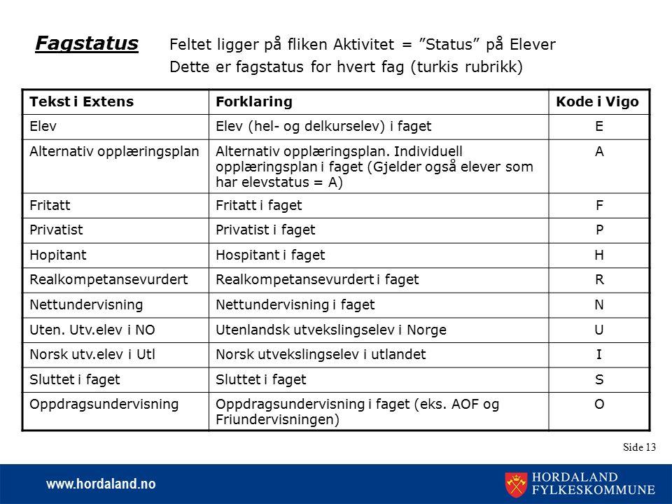 """www.hordaland.no Side 13 Fagstatus Feltet ligger på fliken Aktivitet = """"Status"""" på Elever Dette er fagstatus for hvert fag (turkis rubrikk) Tekst i Ex"""