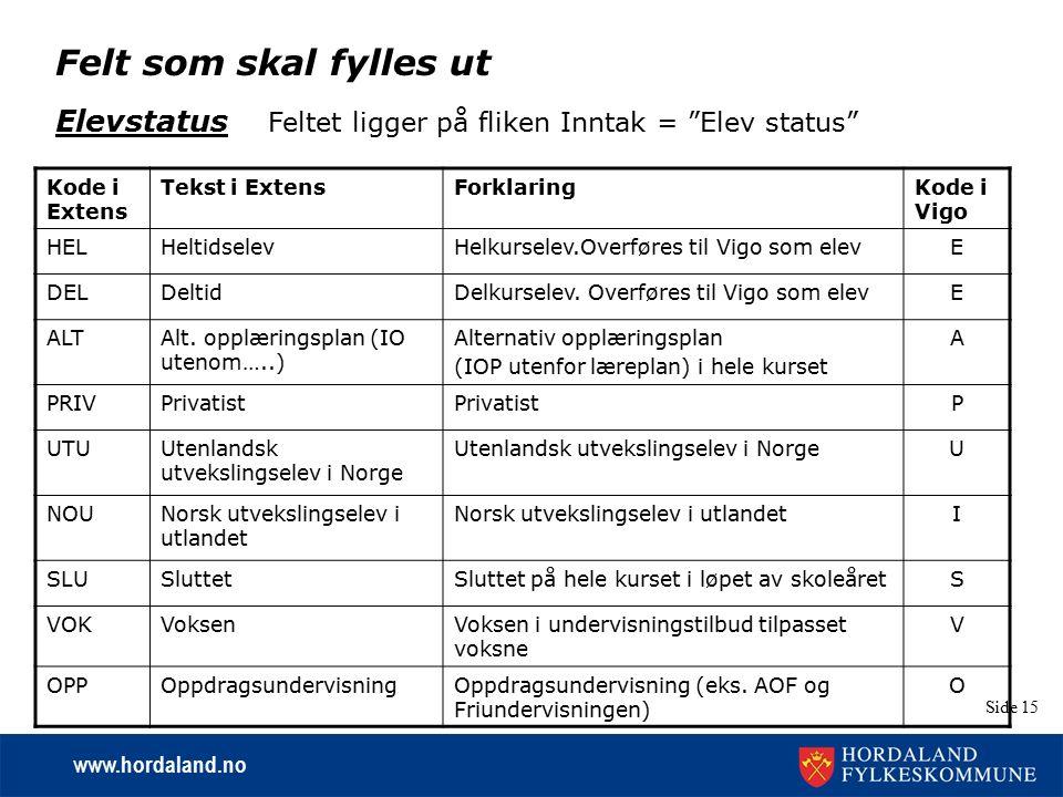 "www.hordaland.no Side 15 Felt som skal fylles ut Elevstatus Feltet ligger på fliken Inntak = ""Elev status"" Kode i Extens Tekst i ExtensForklaringKode"