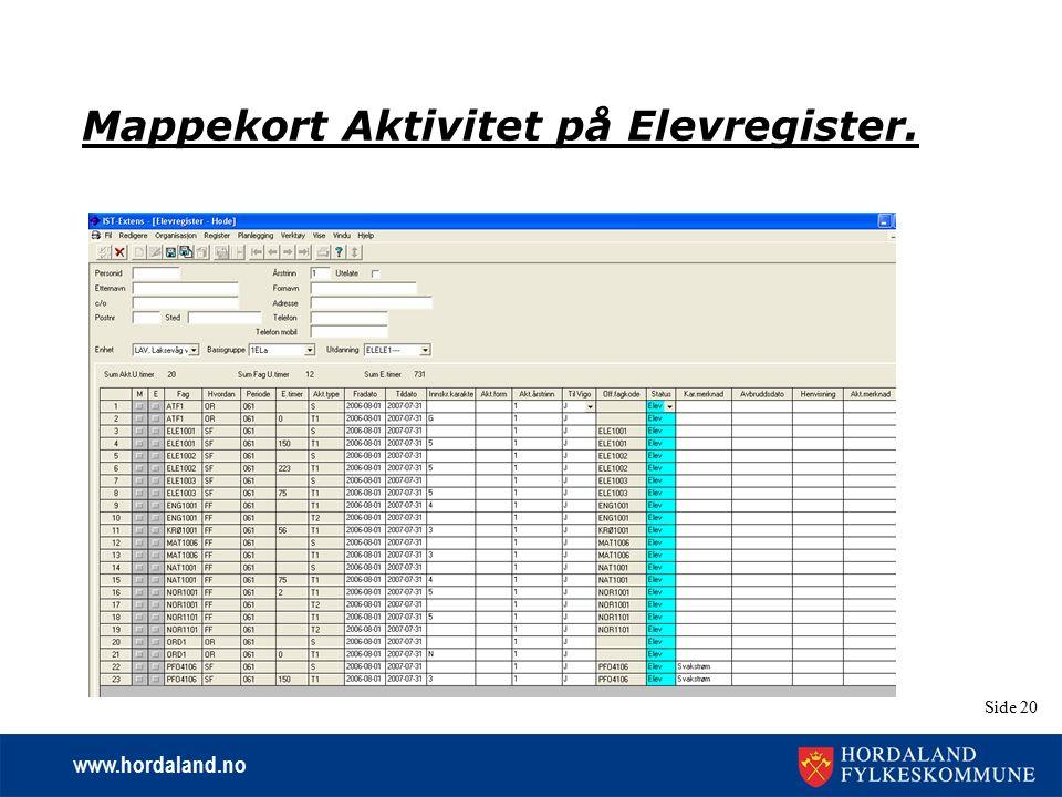 www.hordaland.no Side 20 Mappekort Aktivitet på Elevregister.