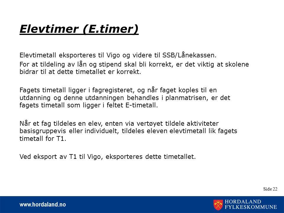 www.hordaland.no Side 22 Elevtimer (E.timer) Elevtimetall eksporteres til Vigo og videre til SSB/Lånekassen. For at tildeling av lån og stipend skal b