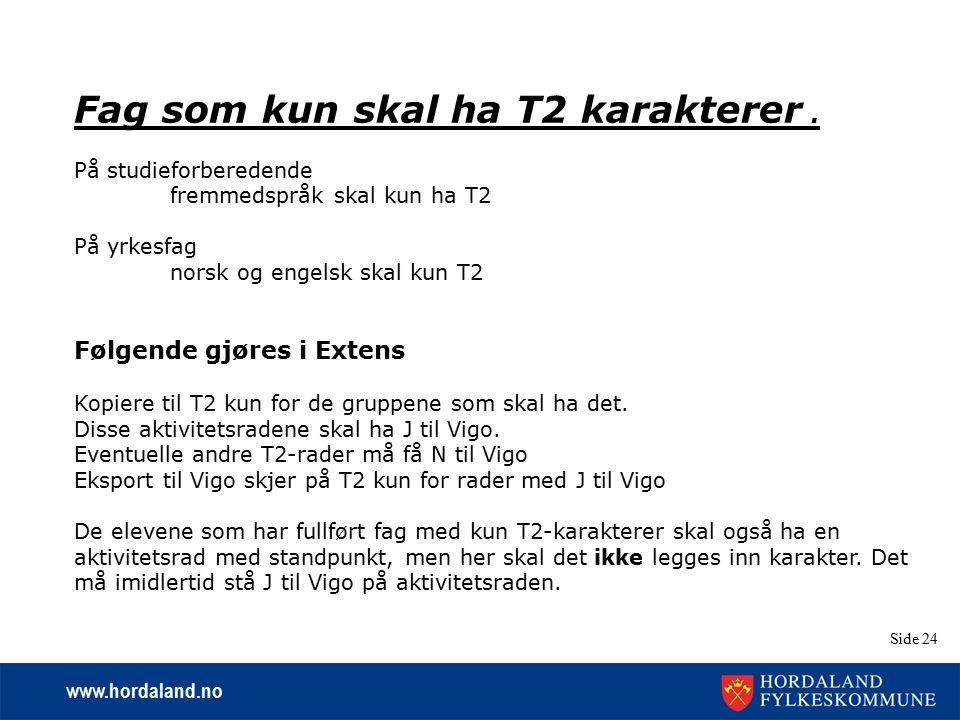 www.hordaland.no Side 24 Fag som kun skal ha T2 karakterer. På studieforberedende fremmedspråk skal kun ha T2 På yrkesfag norsk og engelsk skal kun T2