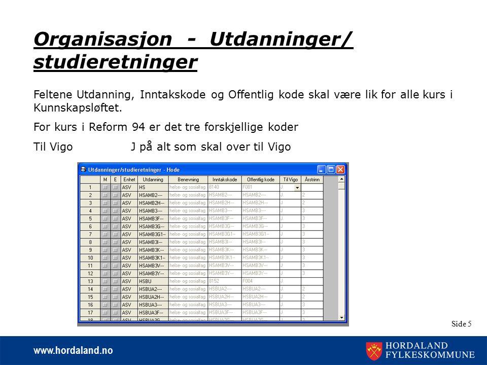 www.hordaland.no Side 5 Organisasjon - Utdanninger/ studieretninger Feltene Utdanning, Inntakskode og Offentlig kode skal være lik for alle kurs i Kun