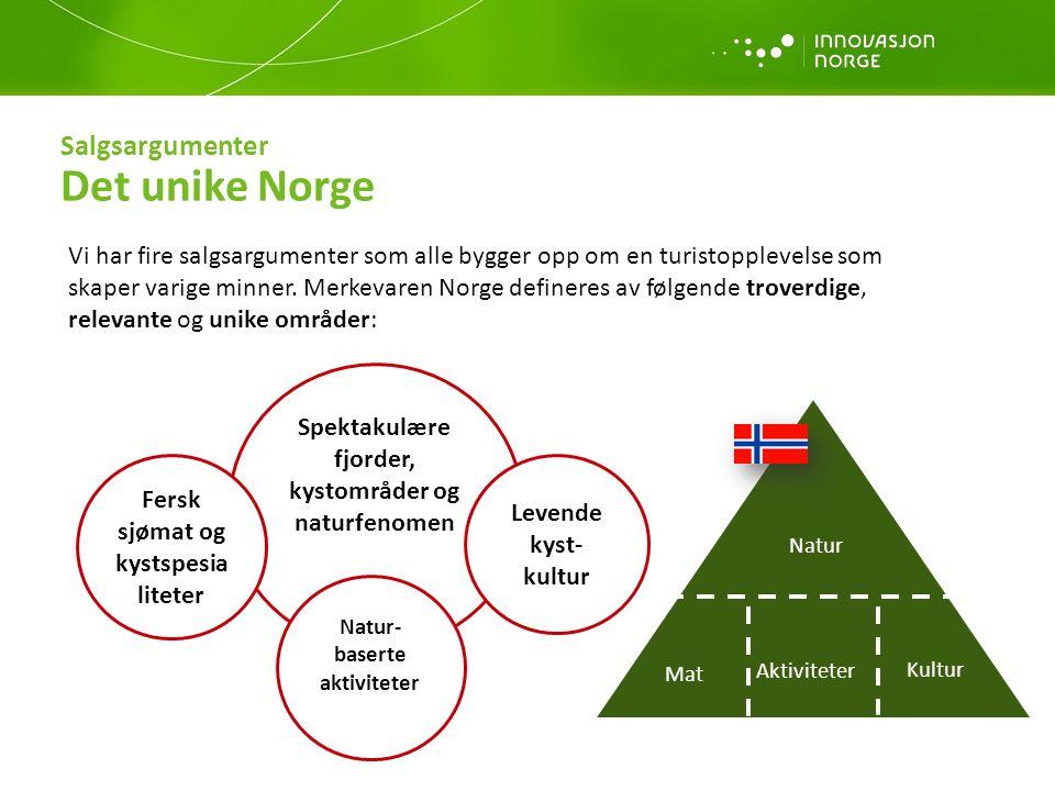 Salgsargumenter Det unike Norge Vi har fire salgsargumenter som alle bygger opp om en turistopplevelse som skaper varige minner. Merkevaren Norge defi
