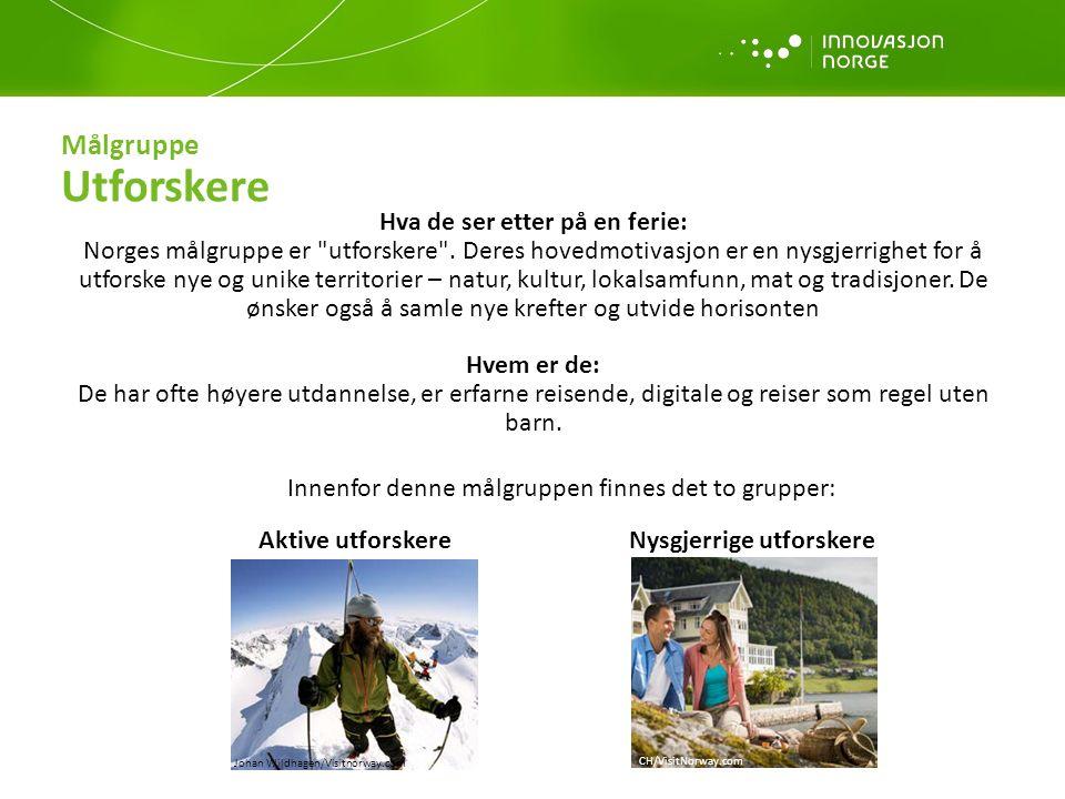 Merkevareimage Slik vi ønsker at turistene skal tenke om Norge Norge er et eventyr, en opplevelse som vil vare livet ut CH/VisitNorway.com Casper Tyberg/visitnorway.com Bjørn Eirik Østbakken - Visitnorway.com