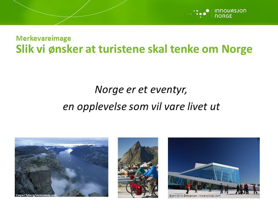 Merkevarestrategi Merkevaren Norge skal alltid: Bygge opp om Norges kvaliteter Gjenspeile merkevareverdiene Fremme tilgjengelighet Kommunisere aktiv deltakelse Prioritere spektakulære fjorder, kystområder og naturfenomen i profileringen Merkevarestrategien skal ligge til grunn for alle aktiviteter i tilknytning til merkevaren Norge – produkt- og destinasjonsutvikling, distribusjon, salg og markedsføring