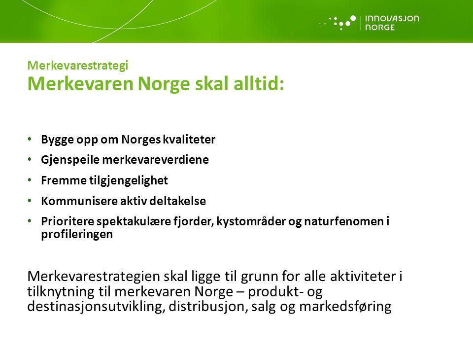 Merkevarestrategi Merkevaren Norge skal alltid: Bygge opp om Norges kvaliteter Gjenspeile merkevareverdiene Fremme tilgjengelighet Kommunisere aktiv d