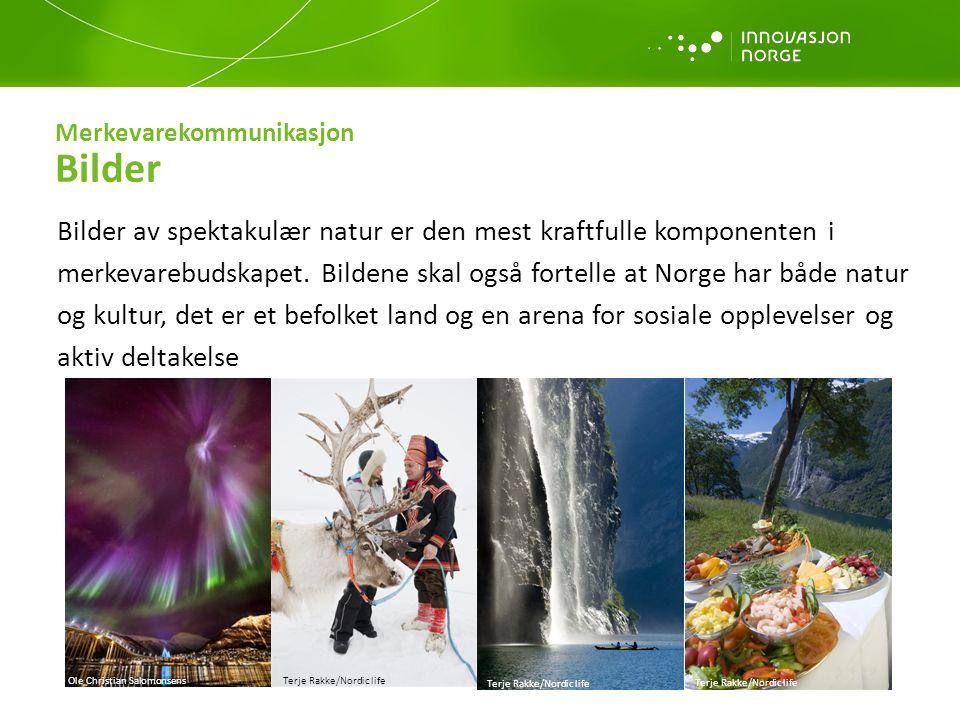 Merkevarekommunikasjon Bilder Bilder av spektakulær natur er den mest kraftfulle komponenten i merkevarebudskapet. Bildene skal også fortelle at Norge