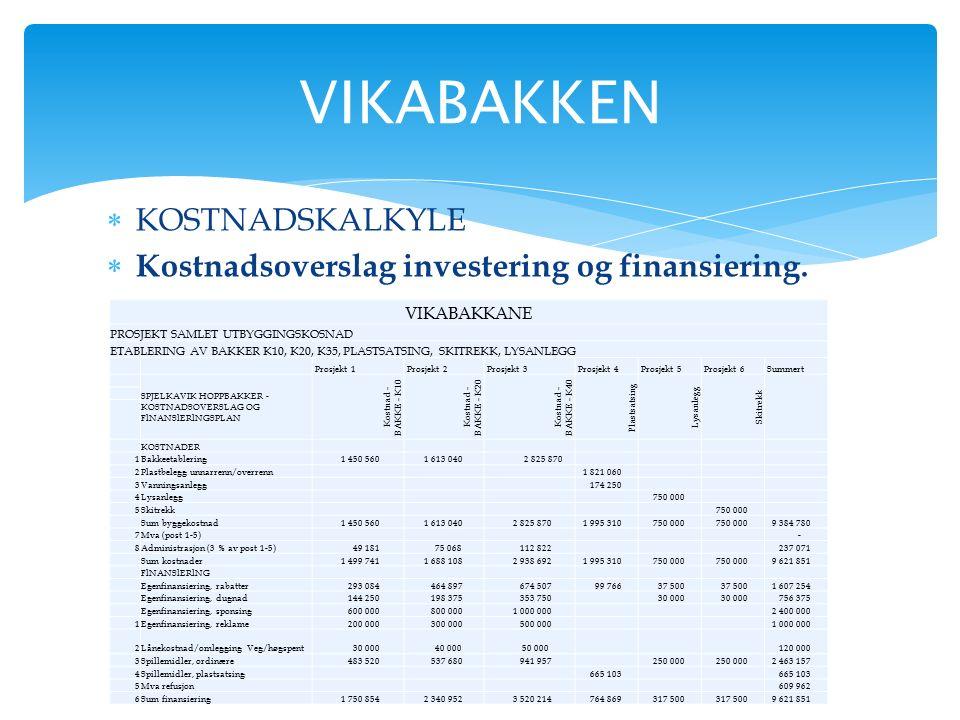  KOSTNADSKALKYLE  Kostnadsoverslag investering og finansiering. VIKABAKKEN VIKABAKKANE PROSJEKT SAMLET UTBYGGINGSKOSNAD ETABLERING AV BAKKER K10, K2