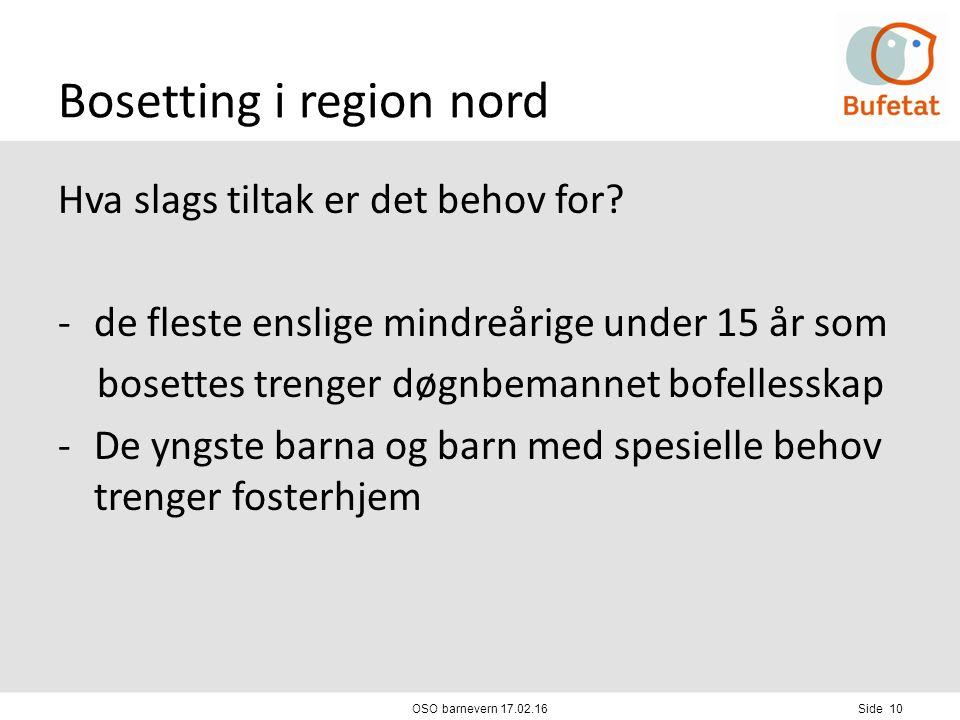 Bosetting i region nord Hva slags tiltak er det behov for.