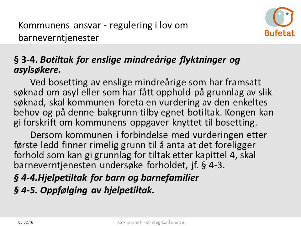 05.02.16 Kommunens ansvar - regulering i lov om barneverntjenester § 3-4.