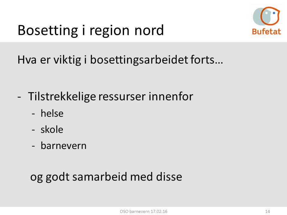 Bosetting i region nord Hva er viktig i bosettingsarbeidet forts… -Tilstrekkelige ressurser innenfor -helse -skole -barnevern og godt samarbeid med disse OSO barnevern 17.02.1614