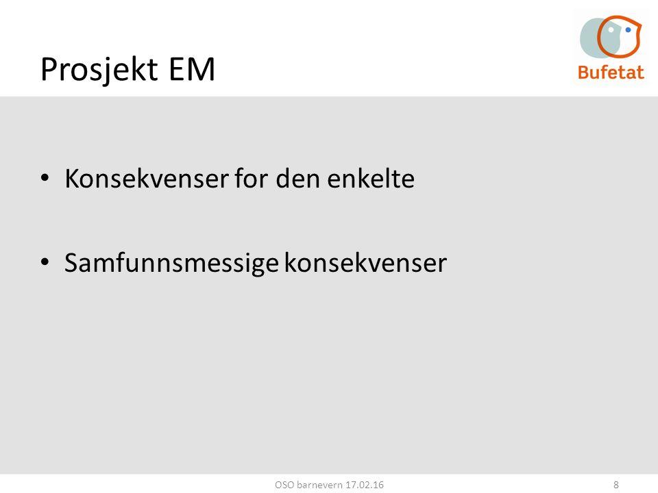 Prosjekt EM Konsekvenser for den enkelte Samfunnsmessige konsekvenser OSO barnevern 17.02.168