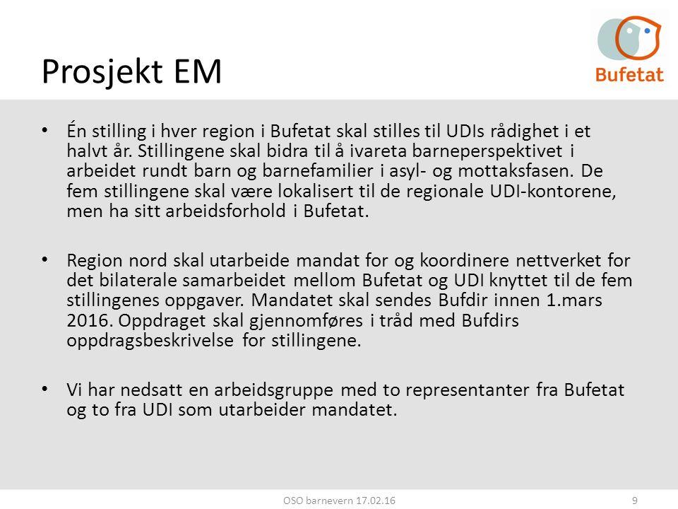 Prosjekt EM Én stilling i hver region i Bufetat skal stilles til UDIs rådighet i et halvt år.