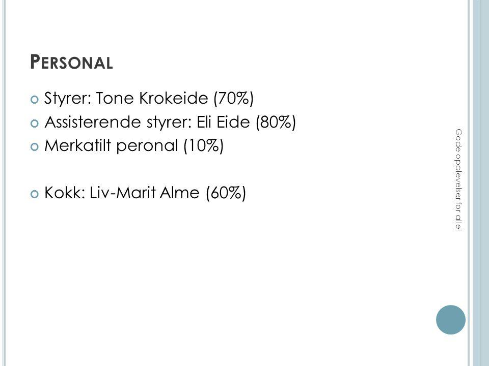 P ERSONAL Styrer: Tone Krokeide (70%) Assisterende styrer: Eli Eide (80%) Merkatilt peronal (10%) Kokk: Liv-Marit Alme (60%) Gode opplevelser for alle!