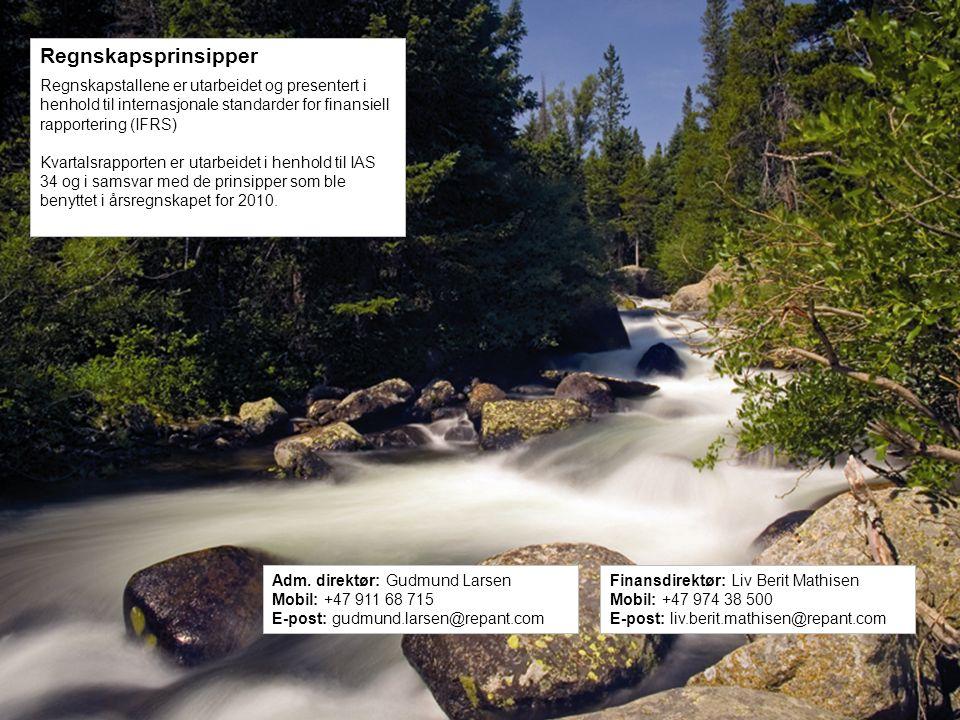 Repant ASA | Kobbervikdalen 75 | 3036 Drammen | Norway | Phone: +47 32 20 91 00 – www.repant.no Regnskapsprinsipper Regnskapstallene er utarbeidet og presentert i henhold til internasjonale standarder for finansiell rapportering (IFRS) Kvartalsrapporten er utarbeidet i henhold til IAS 34 og i samsvar med de prinsipper som ble benyttet i årsregnskapet for 2010.