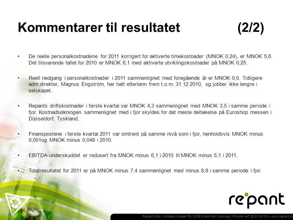 Repant ASA | Kobbervikdalen 75 | 3036 Drammen | Norway | Phone: +47 32 20 91 00 – www.repant.no Kommentarer til resultatet(2/2) De reelle personalkostnadene for 2011 korrigert for aktiverte timekostnader (MNOK 0,24), er MNOK 5,6.