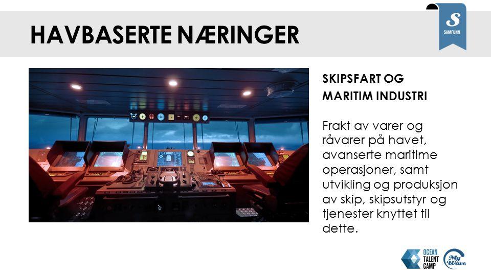 HAVBASERTE NÆRINGER SKIPSFART OG MARITIM INDUSTRI Frakt av varer og råvarer på havet, avanserte maritime operasjoner, samt utvikling og produksjon av skip, skipsutstyr og tjenester knyttet til dette.