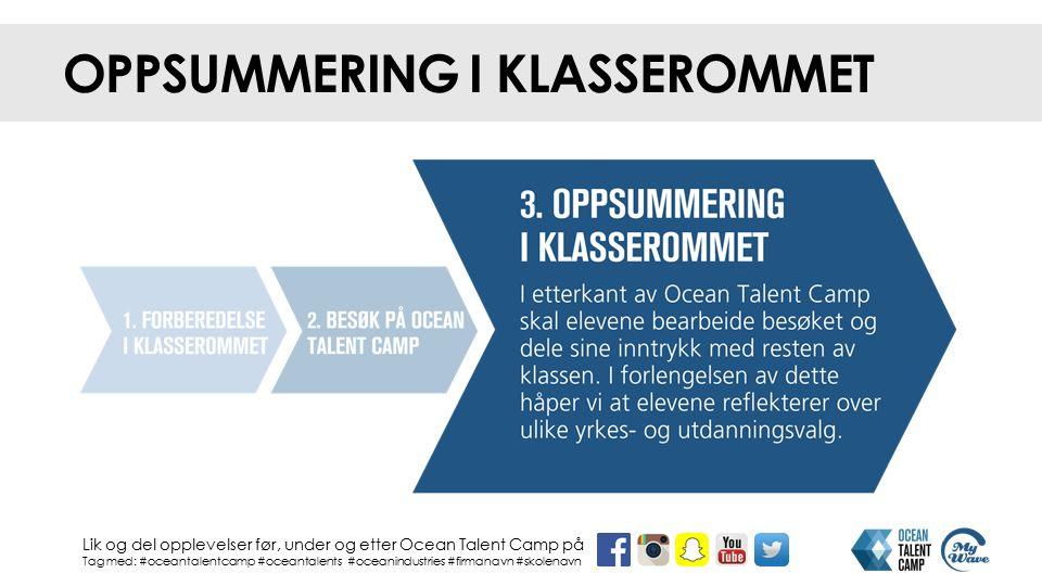 OPPSUMMERING I KLASSEROMMET Lik og del opplevelser før, under og etter Ocean Talent Camp på Tag med: #oceantalentcamp #oceantalents #oceanindustries #firmanavn #skolenavn